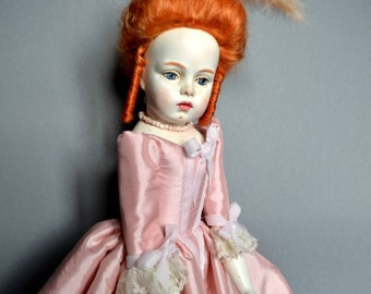 Rococo style red head doll by D.Vistavna using Bru Jne mold, beautiful hair, court dress