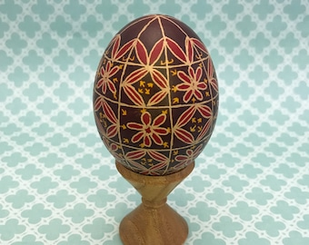 Pysanky Pysanka Ukrainian Flowers on Brown Chicken Egg