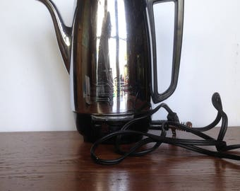 Vintage Stainless Electric Coffee Percolator, Electric Coffee Percolator, Universal Coffeematic, Chrome Percolator