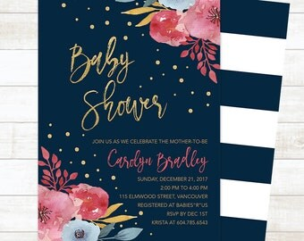Spring Baby Shower Invitation, Floral Baby Shower Invitation, Gold Confetti Baby Shower Invite, Summer Baby Shower Invite