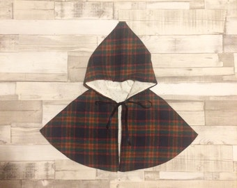 Hooded Poncho | Baby Cape | Hooded Cape | Check Cape | Baby Hooded Cape | Tartan Poncho | Toddler Poncho | Baby Girls Coat