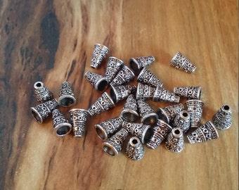 10mm Antique Silver Bead Cones