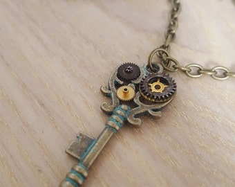 UPCYCLED Steampunk Key Necklace,  unique recycled watch parts jewellery, steampunk jewelry, key jewelry, handmade necklace