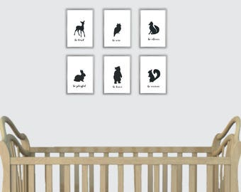 Sets of Nursery Woodland Animals. Deer Be Kind, Fox Be Clever, Rabbit Be Playful, Squirrel Be Curious, Bear Be Brave, Owl Be Wise Silhouette