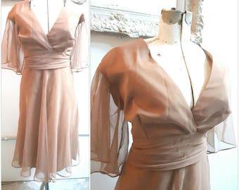 Vintage Mocha chiffon bridesmaid dresses, prom dress, baby shower, formal
