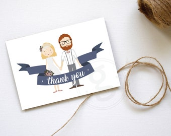 Thank You Card, Personalized Illustration, Wedding Thank you Card, Printable Custom Design