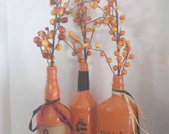 Halloween Captain & His Drunkin Crew Bottles ~ Halloween Decor ~ Upcycled Bottles