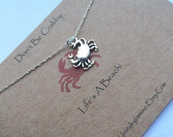 Crab Necklace, Silver Crab Necklace, Cancer Necklace, Crustacean Jewellery, Birthday Gift