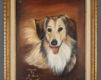 "1970s Oil Painting Collie Dog ""Sargent"" Animal Art"