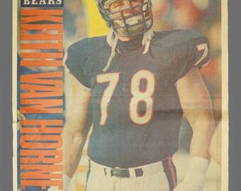 1980s Chicago Bears Sun-Times Poster Keith Van Horne Offensive Tackle 78 NFL Football Newsprint Insert