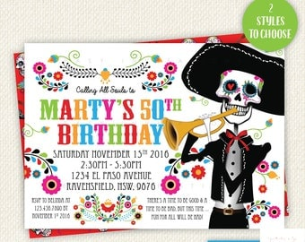 Sugar Skull Birthday Invitation, Day Of The Dead, Dia de los Muertos, Printable, birthday party, Digital, Invite, sugarskull, Male, Man,