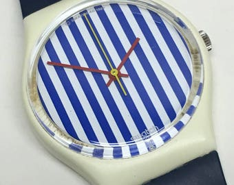 Vintage Swatch Watch Newport Two GW108 1987 White Blue Stripes
