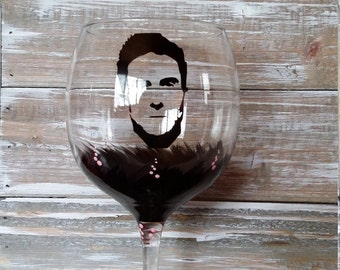 Adam Levine Wine Glass/Maroon 5/the Voice/Painted