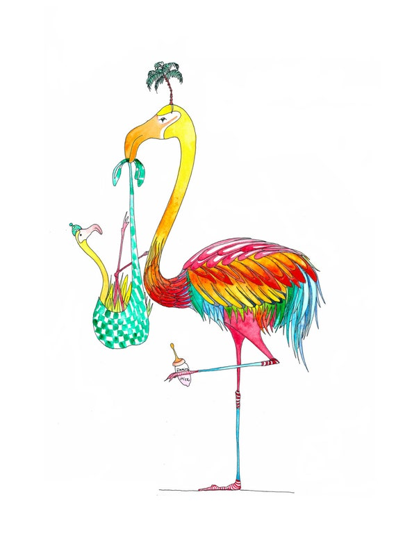 5 Tropical Flamingo New Baby Greetings Cards