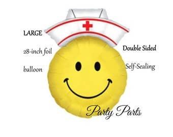 Nurse balloon, 28 inch, smiley face, nurse cap, nursing school graduation decoration, party supplies, helium, mylar, appreciation, nurses