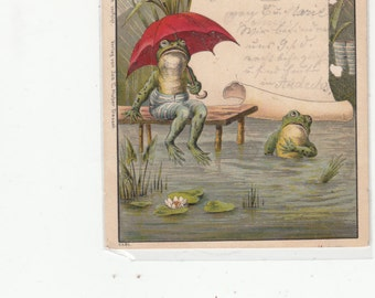 Gruss Style Undivided  Frogs At Pond Its Raining Happy We Are? Antique Postcard