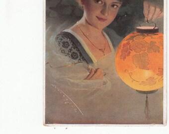 Beautiful Woman Holding Luminescent Asian Lantern C1910s Antique Postcard