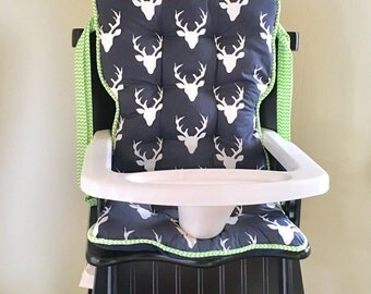 Navy Buck Forest Eddie Bauer Highchair Replacement Pads, Safety First High Chair Pads, Custom Woodland Tribal Highchair Cover