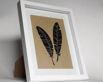 Hand-Printed Feathers Lino-Print Artwork - Framed with Mount
