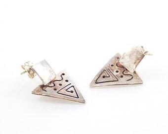 Vintage 925 Silver Tribal Stud Earrings Triangle Dangle