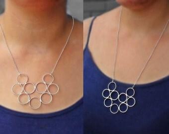 Large Silver Bubble Necklace, silver bib necklace, silver choker statement, modern 925 necklace, unique necklace, designer necklace, for her