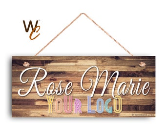 "Company Sign, Place Name and Logo on Sign, Personalized 6""x14"" Sign, Promote Business or Boutique, Rustic Darker Wood Style 5, Made To Order"