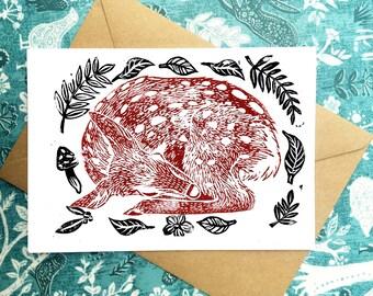 Deer Linocut Greeting Card, Block Print Fawn Card, Deer Print Illustration 8x5 Blank