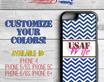 Air Force Wife Phone Case - Chevron Phone Case - Airforce Wife iPhone case - USAF Wife - iPhone 5 - iPhone 5s - iPhone 6 - iPhone 6 Plus