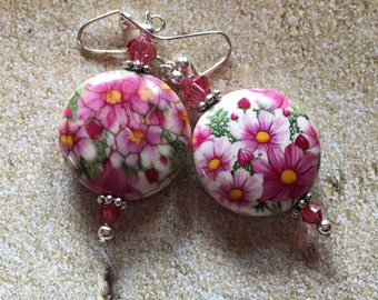 Pink Floral Glass Earrings, Flower Glass Earrings, Glass Earrings, Earrings, Jewelry, Womens Jewelry, For Her
