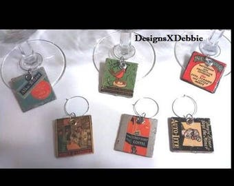 "handmade, set of 6 stemware charms ""Matchbook Tags"" Upcycled, Altered art, Geekery, Hipster, Party, Stemware, Wine,Retro,Vintage,Mid Century"