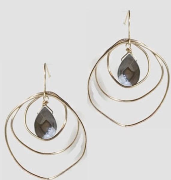Stacked O hoops with gemstone