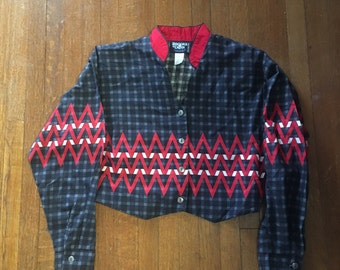 Vintage Blue and Red Brooks & Dunn Line by Panhandle Slim cropped jacket. Size L.