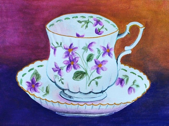 Flower Teacup Mixed Media Gouche & Pastel Painting Lifestyle Art Print