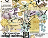 Embellishment pack-BUTTERSCOTCH 40 individual  elements for digital scrapbooking - printable for papercrafts (.png files)