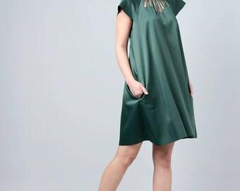 Green Dress Elegant Dress Emerald Dress Night Dress Party Dress Cut Out Dress Collar Dress Casual Dress Green Womenswear Special Womenswear