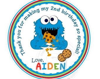 """Custom Baby Cookie Monster Thank you Tags- 2.5"""" or 2"""" Printable, Sesame Street Tags- Personalized  Birthday Thank you Tags- Digital file"""