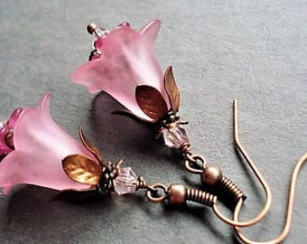 Pink Earrings Floral Jewelry Vintage Style Dangle Earrings Statement Jewelry Copper Earrings Pink Jewelry Long Earrings Gift Flower Earrings
