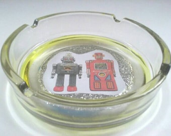 Adorable Glass Ashtray With Robot Design, Glass Ashtray, Robot, Smoke Accessory, Made By Mod.