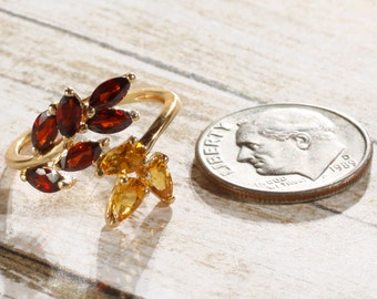 Vintage 14K Yellow Gold Citrine & Mozambique Garnet Leaf Design Bypass Ring US 4.75