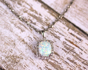 14K White Gold 10 x 8 MM Created Opal & .05 CTW Diamond 18 inch Pendant Necklace, October Birthstone Necklace, Cushion Cut Cabochon Opal