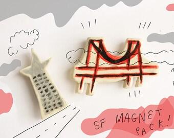 San Francisco ceramic magnet set // golden gate bridge and the transamerica building