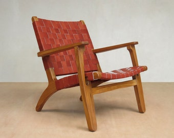 Mid Century Modern Armchair, Accent Chair, Lounger Chair, Teak Frame,  Handmade,