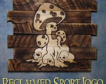 Magical Mushrooms & Skulls, FREE UV protector, 30X23, Burnt wall hanging, Shou Sugi Ban, Charred, Wood Sports sign, Rustic