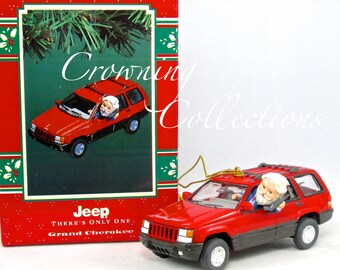 Enesco Jeep Grand Cherokee Treasury of Christmas Ornament There's Only One Chevrolet Santa Commuting on Cell Phone Vintage Flip Phone NIB