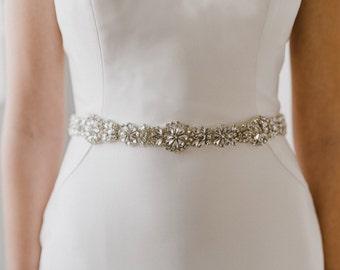 Silver Bridal Sash   Crystal Wedding Belt   Silver Rhinestone Sash Belt   Silver Bridesmaid Sash Belt   Silver Gemma Sash