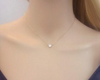 14Kt gold-filled and cubic zirconia necklace; simple gold necklace; choker; petite necklace; classic, pretty necklace