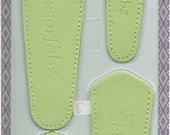 Scissors sheaths -VALUE PACK-4 sizes/pk- Designer Covers w/ScissorGripper Sewing Quilting Embroidery. Light Lime green. S-44. Free Shipping.