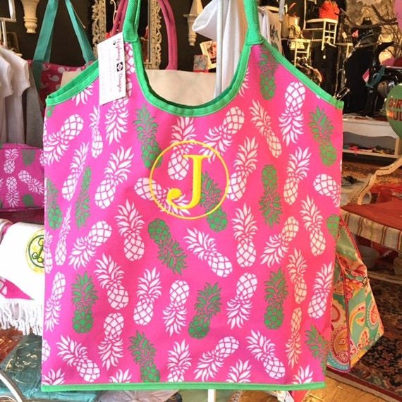 CLOSEOUT SALE Monogrammed Pineapple Tote Bag Overnight Bag Monogram Bag Pink Beach Bag Pool Tote Bridesmaids Gifts Weddings Highway12Designs