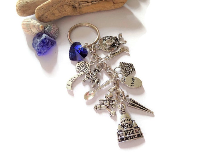 mary poppins gift, poppins jewellery, poppins jewelery, mary poppins keyring, charm keyring, spoonful of sugar, practically perfect,