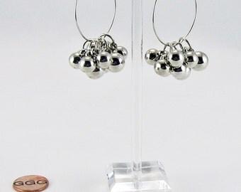 Earrings - Shiny Silver Balls On Medium Hoops (E98)